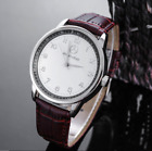 Mercede Ben Mens Watch Stainless Steel Brown Leather Strap - White Face