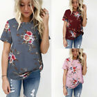 US Summer Womens Floral Tops Fashion Blouse Ladies Casual Short Sleeve T-Shirt