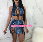 Women Two Piece Set Sexy Bandage Vest Tank Tee Top Mini Skirt Out Fit Night Club