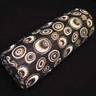 we603g Gold Peacock Eye Black Chenille Bolster Pillow Case Yoga Neck Roll Cover