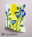 BLUE YELLOW FLOWERS GIANT WALL ART POSTER A0 A1 A2 A3