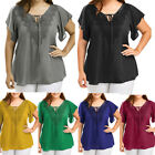 Women Plus Size Summer Blouse Tops Ladies Short Sleeve Curve Appeal Lace T Shirt