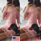 US Fashion Women's Slim Fit Long Sleeve High Waist Evening Cocktail Lace Dress