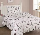Внешний вид - White Black Pink Paris Printed Sheet Set With Pillowcase For Girls / Kids/Teens