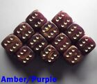 15mm D6 Dice Set 6 or 12 Gold Mist Amber Purple Spot Spotted Dot Dotted Pipped