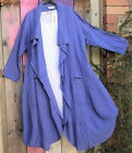 """ELLA MODA LONG BLUE UNSTRUCTURED LINEN JACKET PATCH POCKETS BIG COLLAR UP TO 44"""""""
