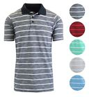Mens Striped Slim Fit Short Sleeve Knit Polo Buttoned Collar Shirt From Galaxy