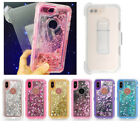 10pcs/lot Shining Quicksand Clear Defender Hybrid Case w Clip For iPhone Samsung