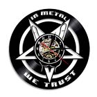 We Trust Quote Rock Hand Rock And Roll Heavy Metal Musical LED Vinyl Wall Clock