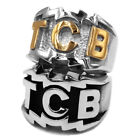 TCB Elvis Presley Biker Ring Stainless Steel Jewelry Punk Silver Gold Colors NEW