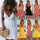 US Womens Sleeveless Holiday Lace Beachwear Ladies Summer Beach Swing Sundress