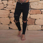 US Slim Destroyed Stretchy Ripped Skinny Biker Jeans Men Taped Fit Denim Pants Y