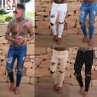 light jeans - US Slim Destroyed Stretchy Ripped Skinny Biker Jeans Men Taped Fit Denim Pants Y