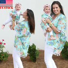 Mother and Daughter Floral Tops Matching Womens Kids Girls Casual Family Clothes