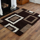 Modern Small Large 5cm Thick Sale Brown Beige Box Geometric Shaggy Quality Rugs