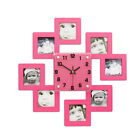Picture Frame Wall Clock,8 Photos Family Display Home Decor