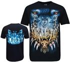 Wolf Pack Biker Native American Indian Animal T Shirt, Front & Back Print M-3XL