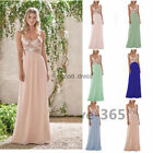 HOT Women V-Neck Chiffon Evening Party Bridesmaid Dress Sequins Splicing Formal