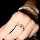 Ring White Classic Engagement Claw  Sapphire 10K White Gold Filled Women Sz 9-20