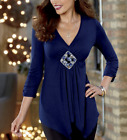 Monroe and Main Shanel Blouse Top Blouse Medallion Center Navy Blue Size Small
