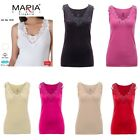 Ladies plain cotton wide strap vest top lace trim neck design cami tank camisole