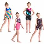 Внешний вид - Girls Rainbow Gymnastics Leotards Sport Training Ballet Tank Biketard 3-12Y Leo