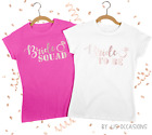 HEN PARTY T-SHIRT WHITE or BLACK TOP BRIDE SQUAD IN ROSE GOLD PRINT PERSONALISE