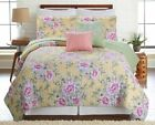 5 Piece Classic Floral Reversible Oversized Quilt Bedspread Coverlet Bedding Set image