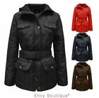 New Ladies Diamond Quilted Belted Zip Jacket Womens Coat Sizes 10 12 14 16 18