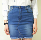 WAKEE BLUE SKIRT WITH FRONT SEAM DETAIL. SIZE 6-16.