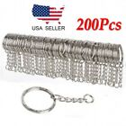 200Pc DIY 25mm Polished Silver Keyring Keychain Split Ring Short Chain Key Rings