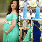 US Pregnant Women Long Maxi Gown Photography Off Shoulder Maternity Dress