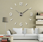 Modern DIY  Large Number Wall Clock 3D Mirror Surface Sticker Home Decor HH5561