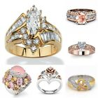 18K Rose Gold Filled White Pink Sapphire Women Wedding Party Ring Gift Size6-10 image