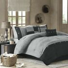 Chic 7pc Textured Black & Grey Microsuede Comforter Set AND Decorative Pillows image