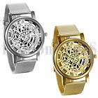 Men's Luxury Mechanical Skeleton Watch Quartz Steel Mesh Band Wristwatches Gift image