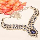 "Madgascar Iolite, Tanzanite Quartz 925 Sterling Silver Necklace 17.99""_OI"