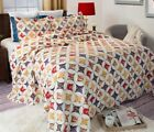 NEW QUILTED BEDDING 3pc cathedral window vintage ivory red gold FULL QUEEN quilt