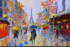 Hand Painted Abstract Canvas Oil Painting  Busy Street Cityscape 826