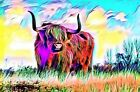 STUNNING HIGHLAND COW COLOUR SPLASH CANVAS PICTURE POSTER PRINT UNFRAMED #W42