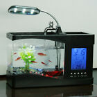 Desktop Fish Tank Clock LED Betta Alarm Calendar Time Temperature USB Aquarium