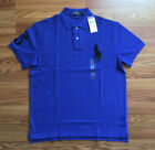 $80 NWT Polo Ralph Lauren Mens Blue Pig Pony Logo Shirt Custom Slim Fit Cotton