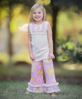 Girls ANN LOREN boutique outfit 12-18-24 2T NWT pink gray lace tiered ruffles