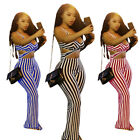 New Women's Sexy 2 Piece Striped Top Strapless Long Pants Bo