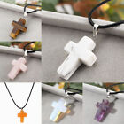 Crystal Cross Natural Stone Quartz Pendant Necklace Healing Point Chakra Leather image