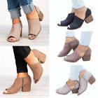 chunky cut out shoes - Women Mid Chunky Heel Peep Toe Ladies Cut Out Zip Ankle Boots Sandals Shoes
