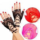 Punk Goth Sheer Lace Up Fishnet Wrist Length Fingerless Gloves Arm Warmers Raver