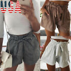 USWomen Lace Up High Waist Shorts Ladies Summer Pocket Casual Hot Pants Trousers