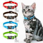 Breakaway Cat Nylon Personalized Collar Quick Release Kitten Pet Engraved ID Tag