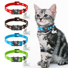 Break Away Cat Collar Personalized Safety Adjustable Nylon Collar with ID Tag